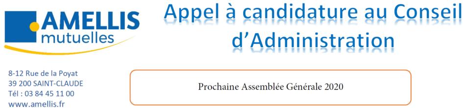 APPEL A CANDIDATURE AU CONSEIL D'ADMINISTRATION D'AMELLIS MUTUELLES